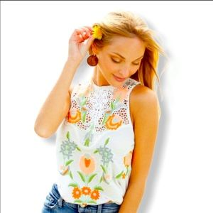 NWT Free People Embroidered Sleeveless Top L